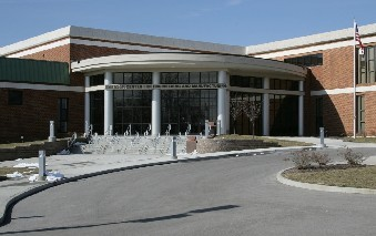 front entrance to the Emerson Center for Engineering and Manufacturing