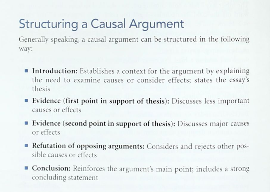 Structuring a Causal Argument includes an Introduction, Evidence, Refute, Conclusion