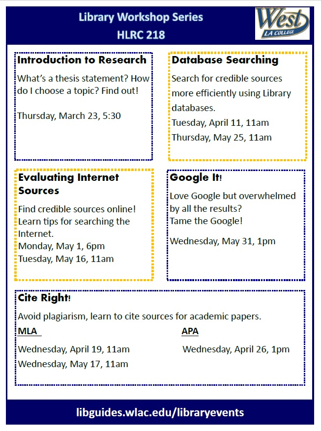 Flyer advertising library workshops scheduled for spring 2017
