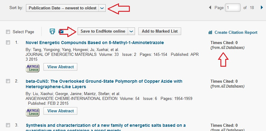 Article citations locating who cited your work subject guides you can reorder the list of citing articles with the sort by drop down list you can save to endnote online and look at the times cited link for ccuart Images