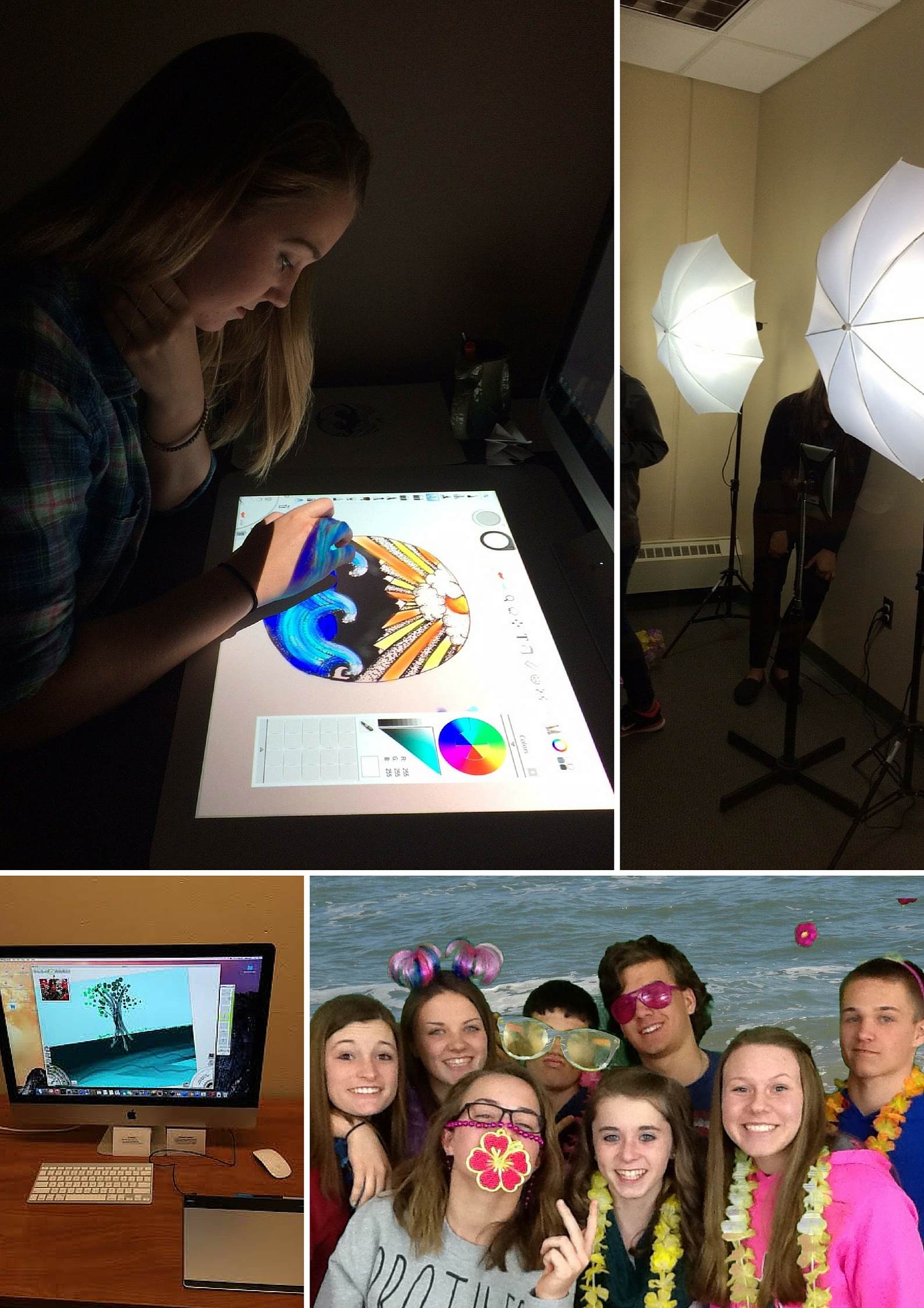 1. Student working on 3D drawing. 2. Camera lighing. 3. iMac computer. 4. Students using green screen.