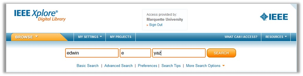 Screen example showing location of the Author Search link