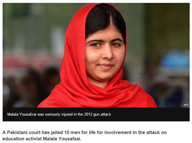 Pakistan court jails 10 for Malala Yousafzai attack Report from the BBC