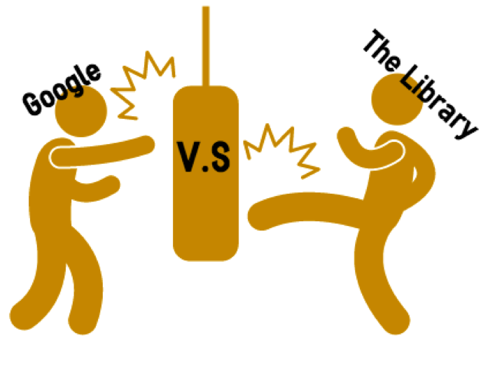 two people kicking and punching a punching bag, one is called Google the other one is called The Library