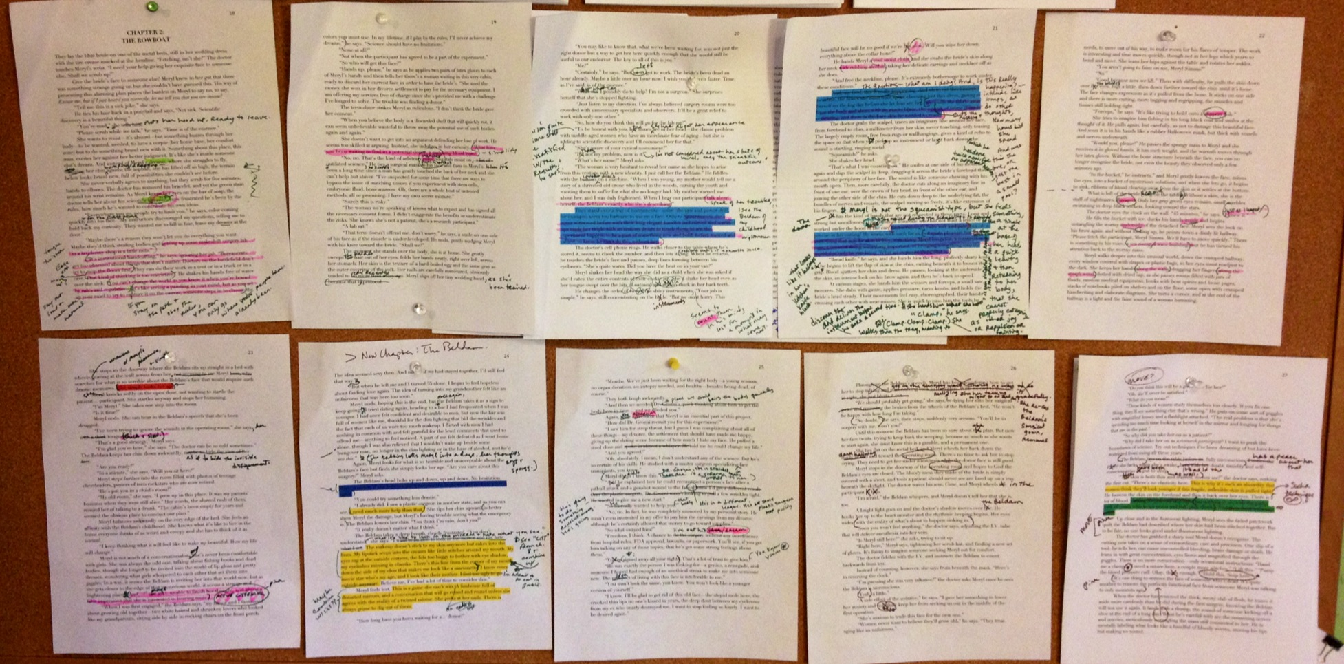 pages of first draft with colour hi-lights and hand writing