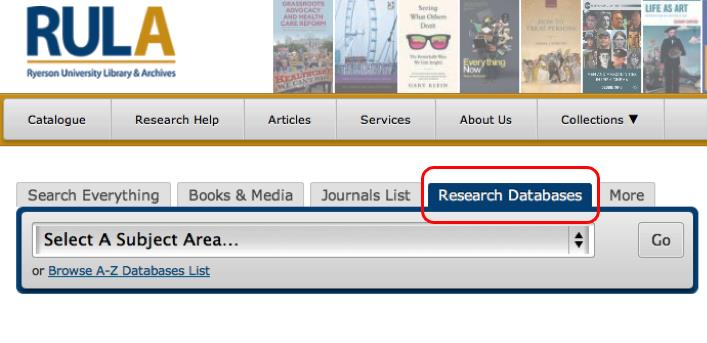 RULA website with Research Databases Tab highlighted