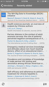 Screenshot - Article in Mendeley