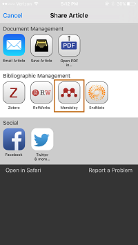 Screenshot - Mendeley button in Browzine