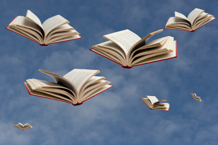 image of flying books