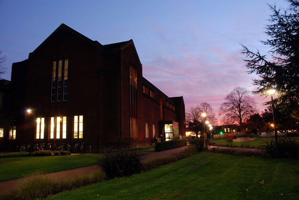 A picture of Hartley Library at night