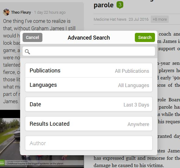 advances search feature image