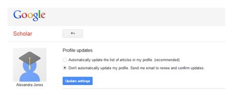 Google Scholar profile updates