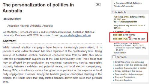 Screenshot of an abstract of a Sage article, showing the link to a Full text version of the article