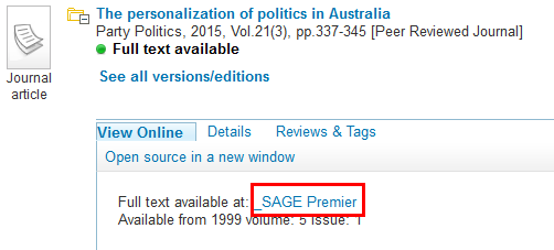 Screenshot of a Sage database link in Primo