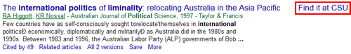 Screenshot of a CSU link in Google Scholar search results