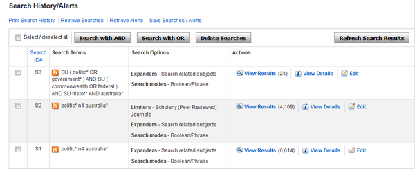 Search History in EBSCO shows all search terms used, and records the limiters used
