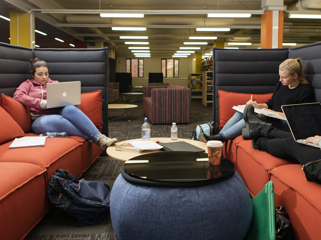 Comfortable couches for group study sessions at the Wagga Wagga campus