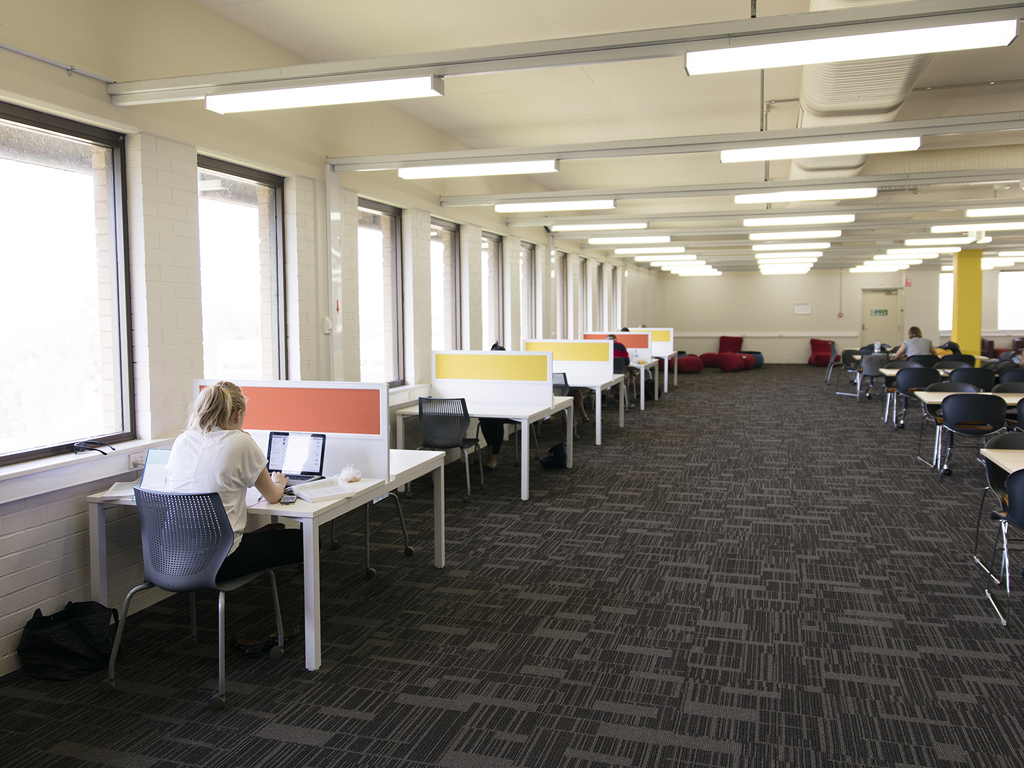 Individual and group study desks at the Wagga Wagga campus