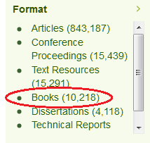 Books in library catalogue search, copyright UniSA library