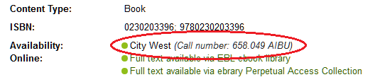 Call number in library catalogue, copyright UniSA library
