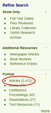 Limit your search to journal articles