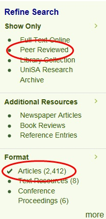 Limit your search results to peer-reviewed articles
