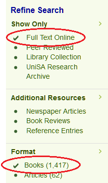 eBooks in library catalogue, copyright UniSA library