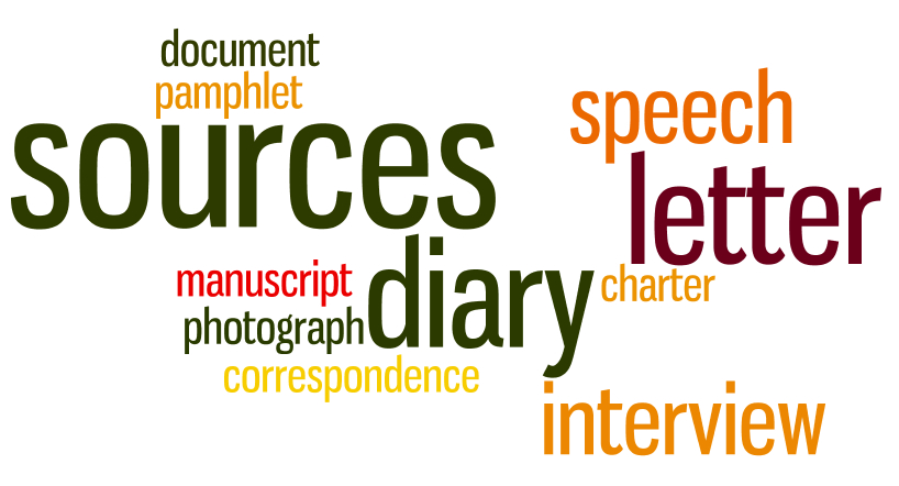 Primary sources Wordle image