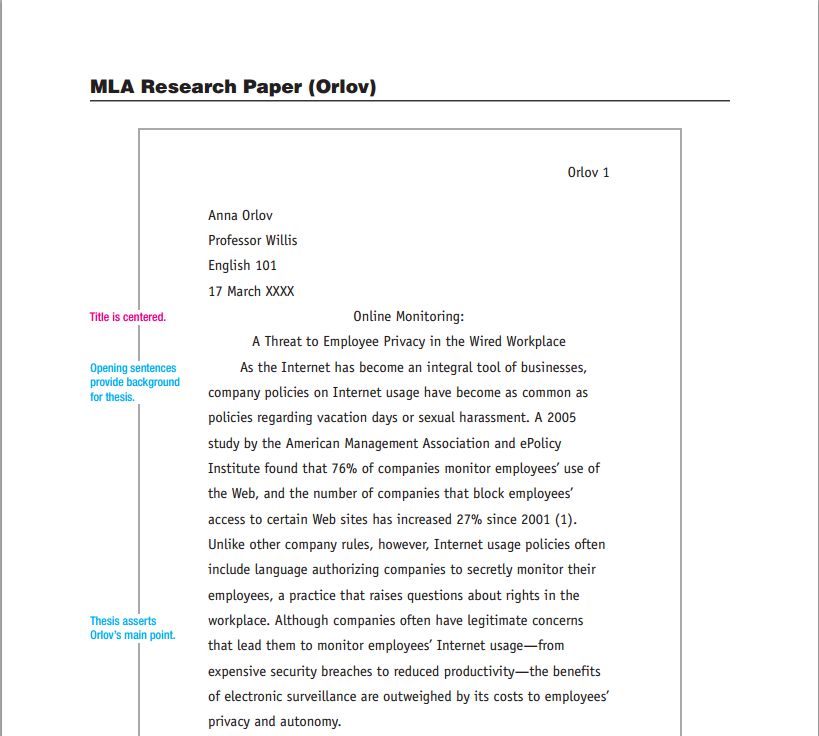 mla paper research write