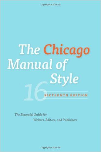 Book cover: the chicago manual of style 16th edition