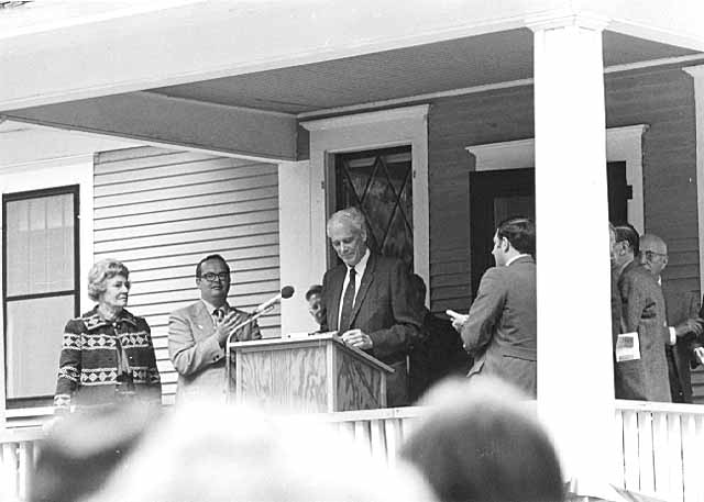 Charles A. Lindbergh at opening ceremony for the Lindbergh Interpretive Center, Morrison County, 1973.