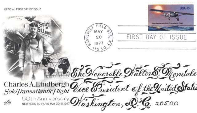Charles Lindbergh commemorative envelope sent to Walter Mondale, May 20, 1977.