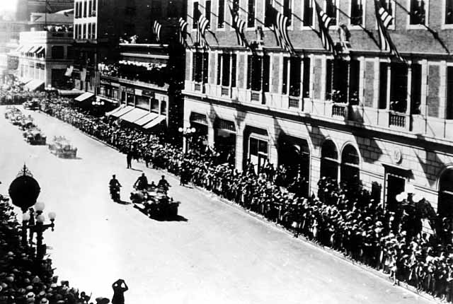 Colonel Charles A. Lindbergh riding up Nicollet Avenue, Minneapolis, 1927.