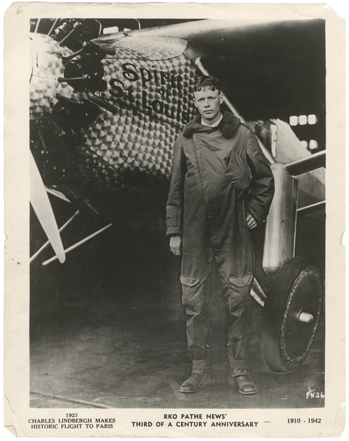 Charles Lindbergh makes historic flight to Paris, 1927.