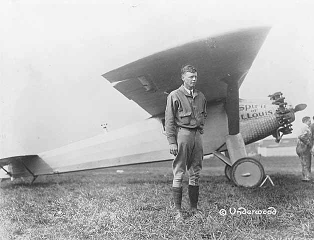 "Charles Lindbergh with ""The Spirit of St. Louis,"" 1927."