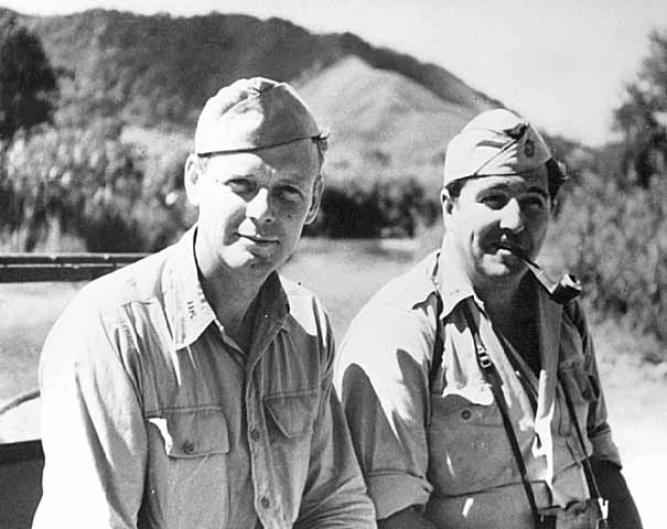 Charles Lindbergh with member of 35th Fighter Group Staff, South Pacific, summer of 1944
