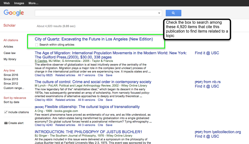Google scholar citation guide research guides at university of cited by feature ccuart Choice Image