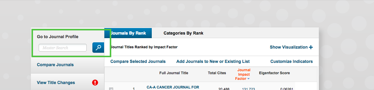 Journal Citation Report search box