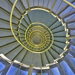 look downstairs into stairwell whirl, by Karl-Ludwig Poggemann