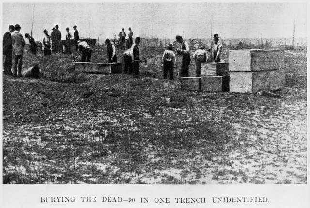 Burying the dead, 90 in one trench, 1864.