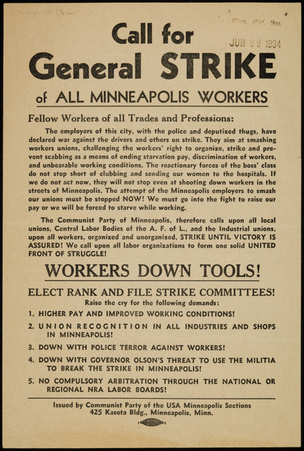 Call for General Strike of All Minneapolis Workers, 1934.