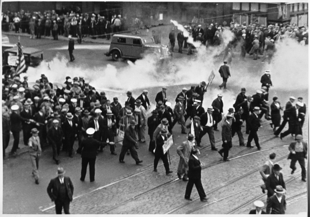 Using tear gas during truckers' strike, Minneapolis, 1934.