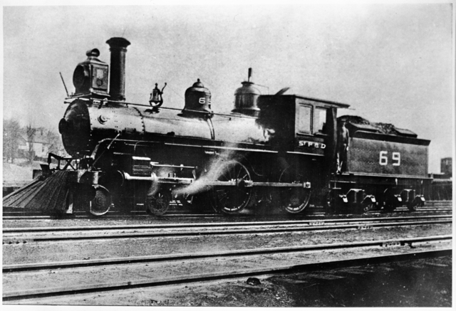 Root's Engine, St. Paul and Duluth Railroad Company, the engine that carried the last train load of survivors out of Hinckley during the 1894 fire, 1895.