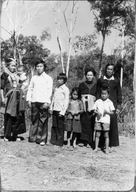 Yang family in Ban Vinai refugee camp, Thailand, 1978.