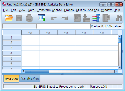 Data Editor window with Data View tab active (SPSS version 22). The appearance is very similar to spreadsheet applications like Microsoft Excel.
