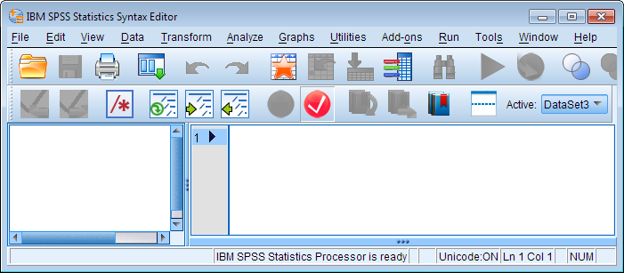 Syntax Editor window (SPSS version 22).