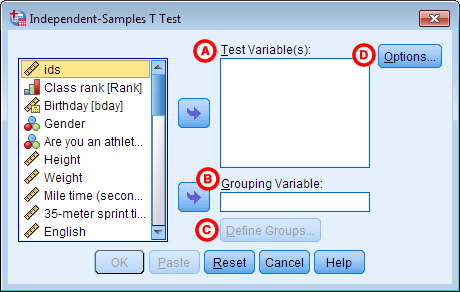 Independent samples t test spss