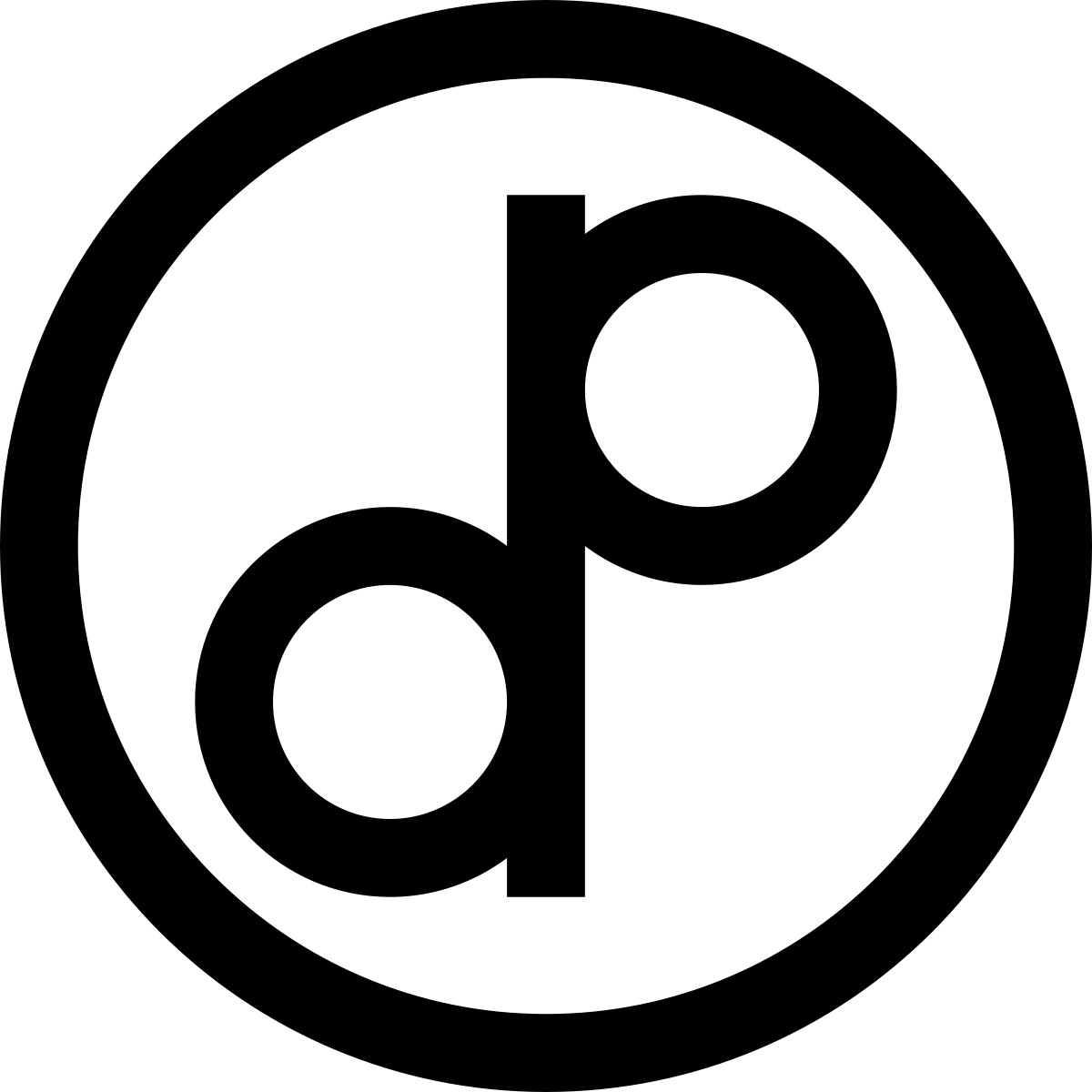 a public domain symbol; the letters d and p