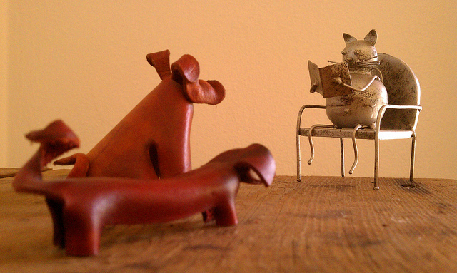 toy cat in seat reading to clay dogs