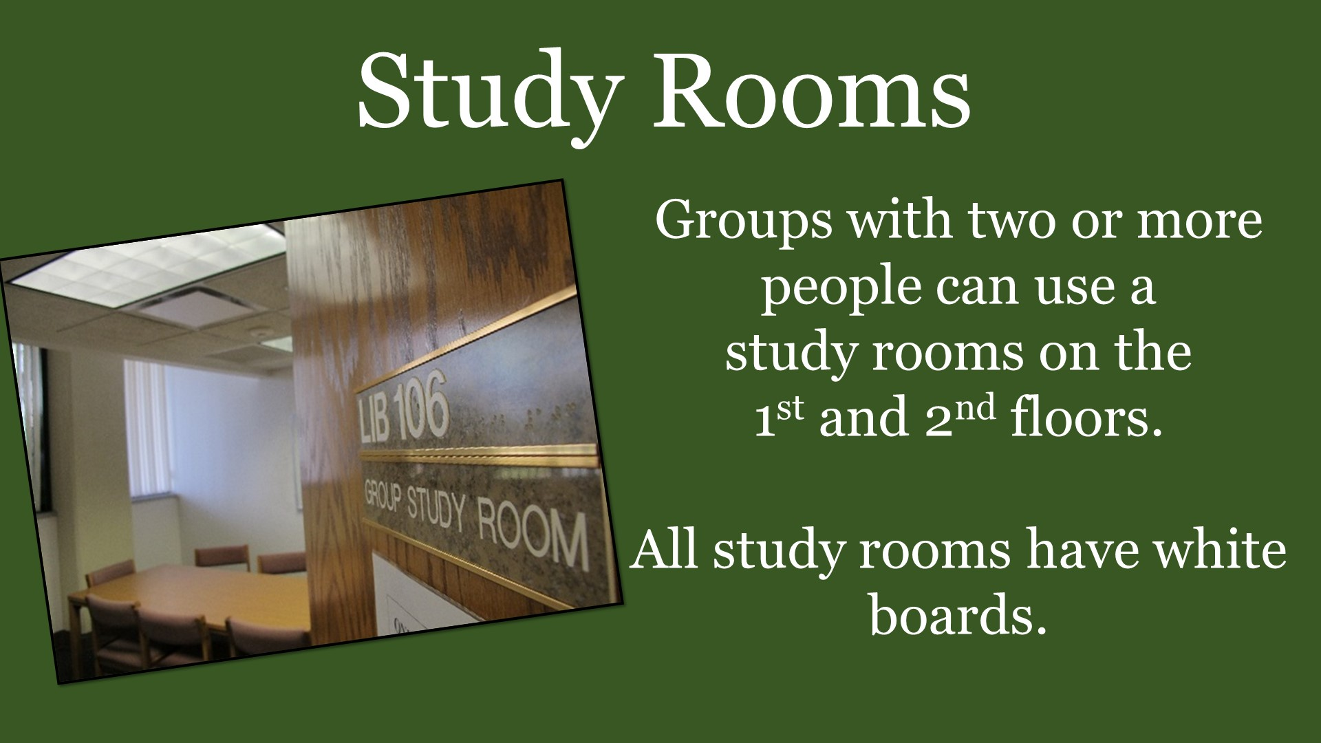 Promo for study rooms